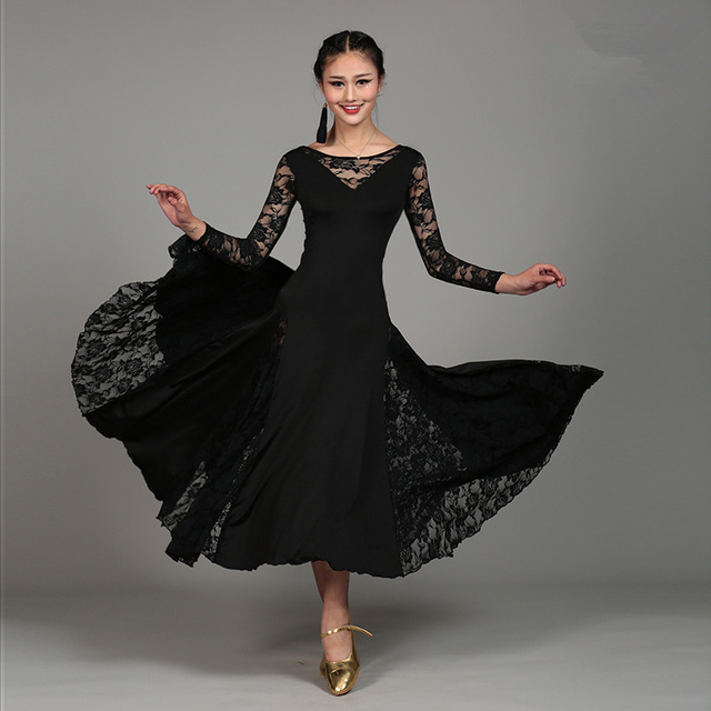 dfaecef654dab Sexy Lace Mesh Long Sleeve Ballroom Dance Costume Clothes Women Standard Ballroom  Dancing Dresses For Sale