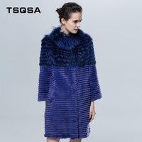 TSQSA Female Meduim Style Real Fur Coats Silver Fox Fur and Rex Rabbit Fur Outerwear Fashion Striped Customized Clothes TAC1609