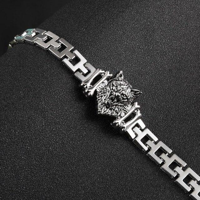 c330f98f601 Bracelets homme pour homme pulseras bijoux homme tête de loup Bracelet  acier inoxydable homme femme bracelets