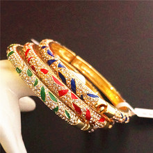Colour Chinese Rhinestone Bangle Cloisonne Enamel Thin Bangles For Women Fashion Ethnic Jewelry birthday Gift