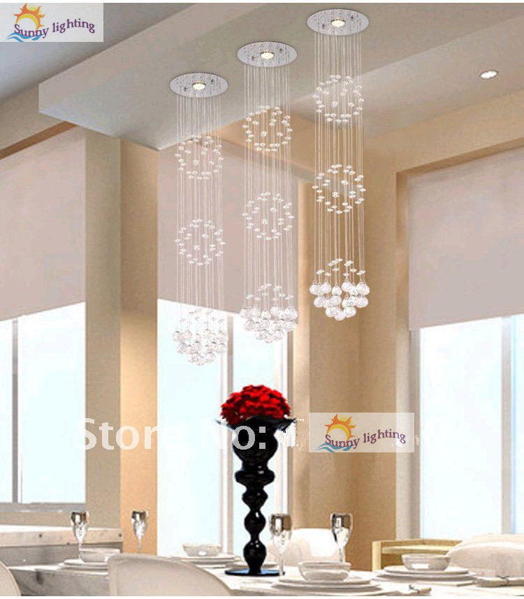 1 Pcs Long Hanging Crystal Lighting Dining Room Pendant