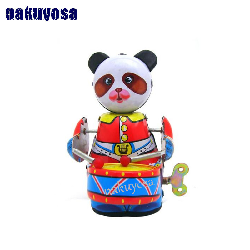 Toys & Hobbies Panda Play The Drum Adult Collection Nostalgia Toys Photography Props Metal Toys
