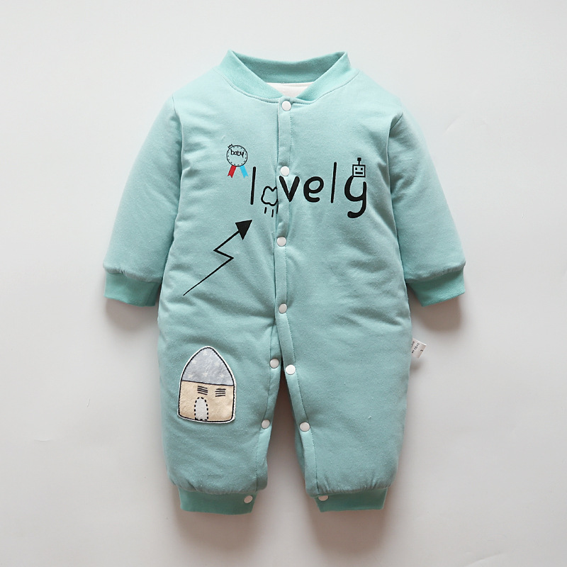 BibiCola Newborn Baby Warm   Rompers   Infant Baby Winter Long Sleeve Cartoon Jumpsuits Bebe Cotton Thicken Soft Outing Clothing