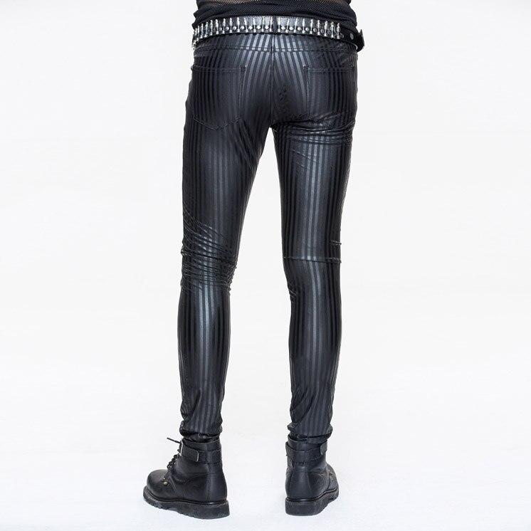 Devil moda Punk hombres pantalones ajustados Steampunk negro casual ceñido pantalones Striation Skinny Pantalones - 3