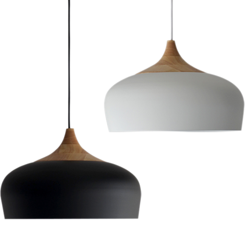 Modern pendant light Oak Wood lamp E27 socket wood lampholder Hanging light white black Optionally 300mm / 350mm nordic simiple decor coco modern pendent oak wood lamp e27 socket wood hanging lamp white black 300 350mm