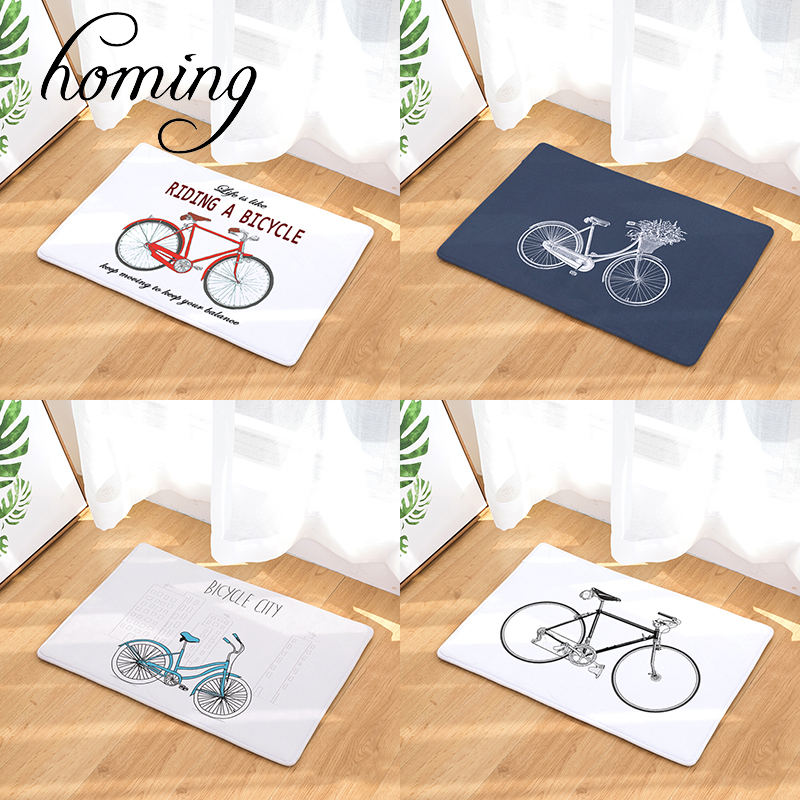 Homing Durable Dustproof Welcome Home Door Mats Cartoon Bicycle Kitchen Rugs Entrance Ma ...