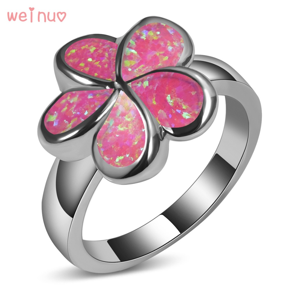 Weinuo Flower Type Pink Opal Ring 925 Sterling Silver Top Quality ...