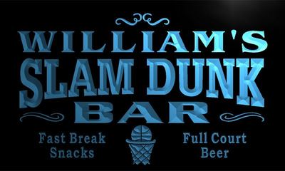 x0005-tm Williams Slam Dunk Basketball Bar Custom Personalized Name Neon Sign Wholesale Dropshipping On/Off Switch 7 Colors DHL