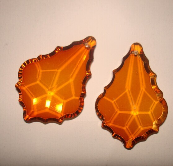 Aliexpress 20pcs Lot Amber Color 50mm Crystal Chandelier Maple Leaf Prism Pendants Curtain Free Shipping From Reliable