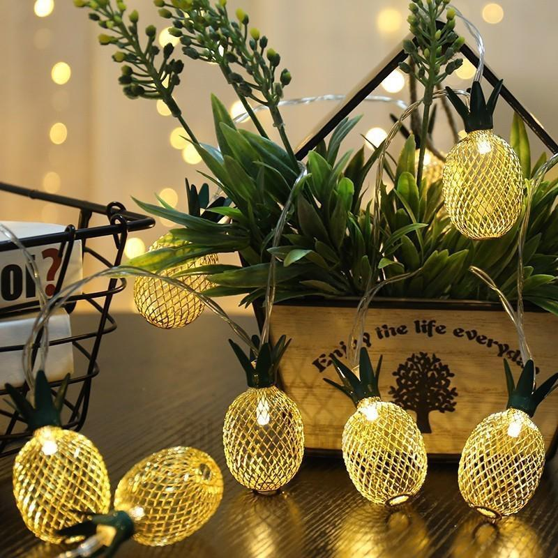 Vintage Iron Pineapple Night Lights 10 LED 20 LED String Fairy Light Battery Powered Lantern Romantic Xmas Wedding Party Lamp