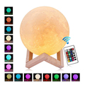 3D Print Moon Lamp Rechargeable 2/16 Color Change Touch Switch Remote Control Bedroom Lunar Dimmable Night Light Baby Home Decor