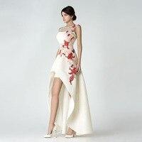 Vestido де Noiva Мода О Средства ухода за кожей шеи аппликация бисером рукавов короткое спереди и длинное Сзади Пром невесты Платья для женщин