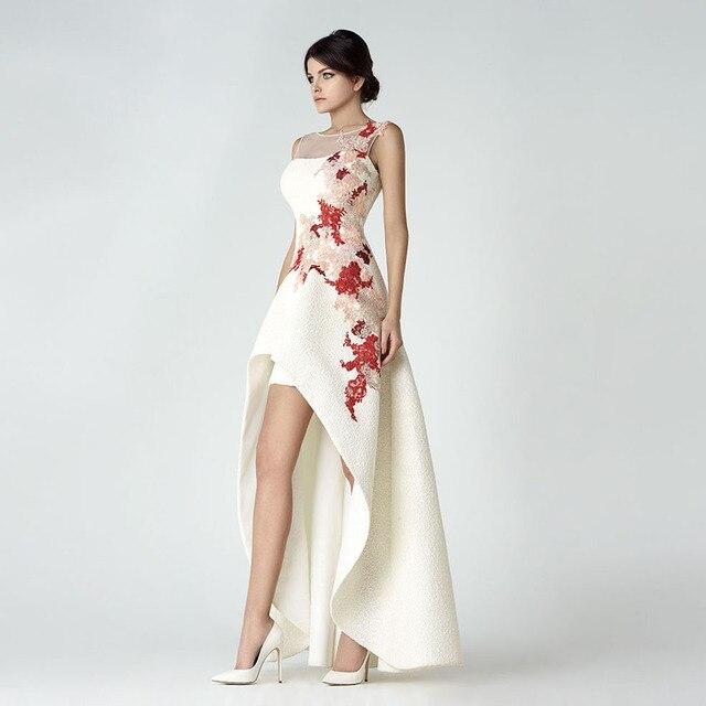 78095332a Vestido de noiva moda O cuello Appliqued rebordeado sin mangas trasero  largo delantero corto Vestido De