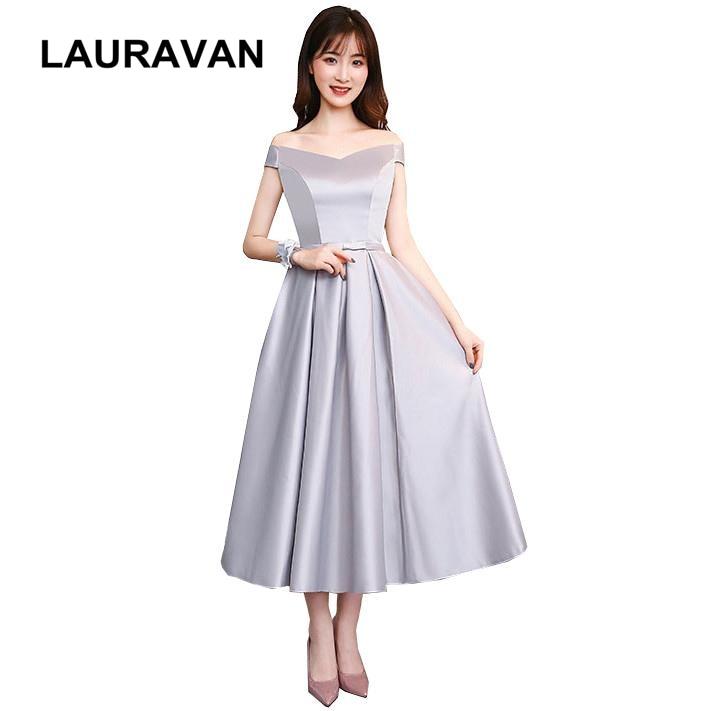 ladies off the shoulders gray vintage satin v neck bridesmaid short tea party  dresses bridesmaids dress 3120bc4027a7