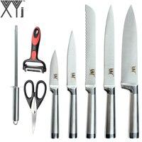 New Arrival XYJ Stainless Steel Knife 8 Pcs Set Sharpener Bar Multifunction Peeler Scissors 8 8