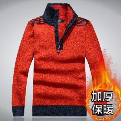 Velvet Plus Thick Semi-high-collar Winter Men's Sweater Knitted Pullover Mens Zipper Sweater Male Jumper Turtleneck Sweater Men