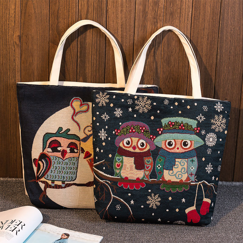 Adaptable Yile Zippered Handbag Eco Shopping Tote Jacquard Weave Fabric Owl Lovers 239cf Shopping Bags