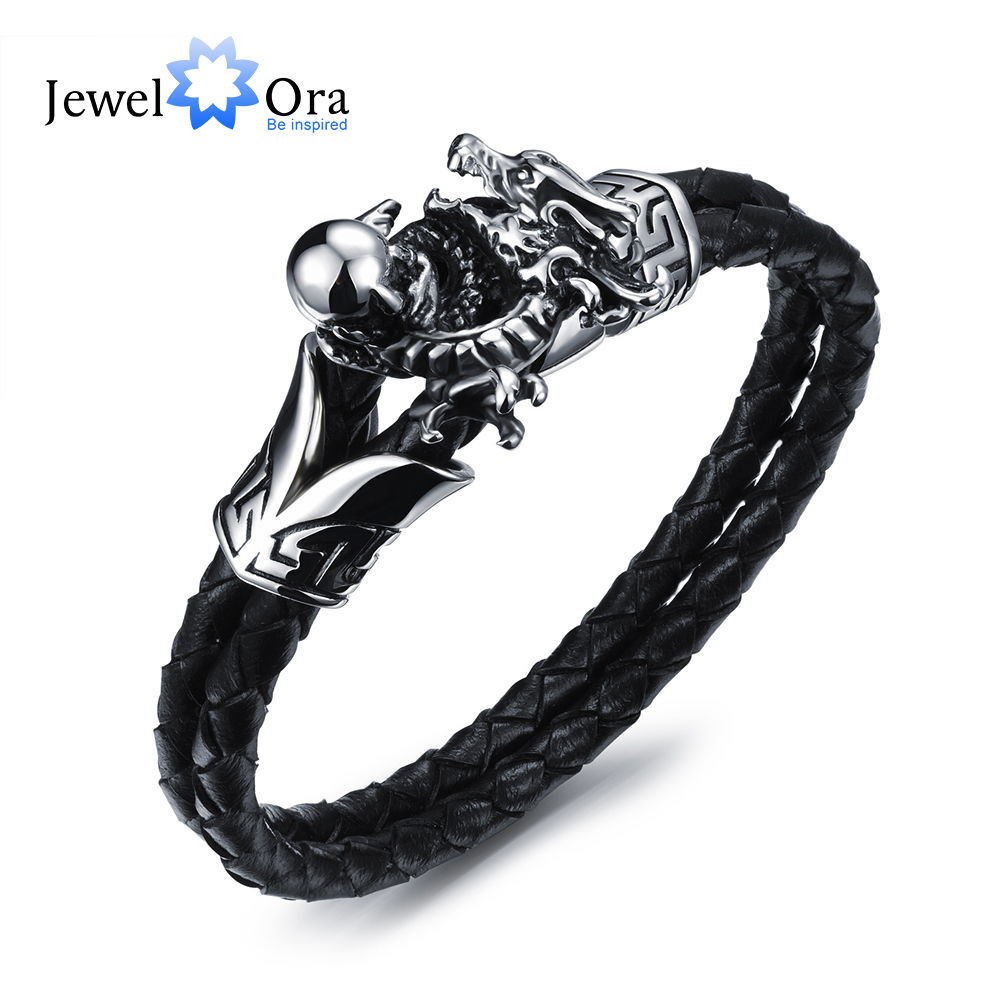 Jewelora Men Stainless Steel Cowhide Leather Bracelets Bangle Western  Vintage Dragon Bracelets Hot Jewelry Accessories Ba101979