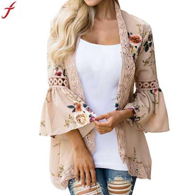 e8bb71ddc70c4 Women Print Blouse 2018 Spring Women Lace Floral Open Cape Casual Coat  Loose Blouse kimono Jacket Cardigan Roupa feminina
