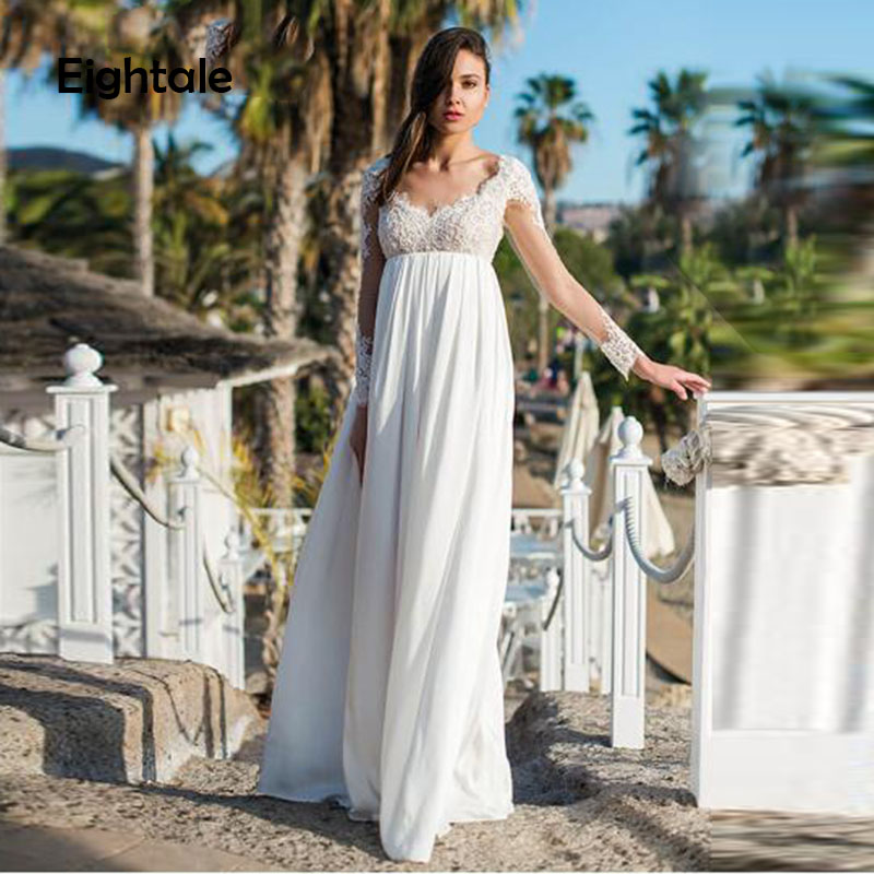 Eightale Beach Wedding Dress for Pregnant Woman Long Sleeves Sweetheart Appliques Lace Backless Wedding Gown Chiffon