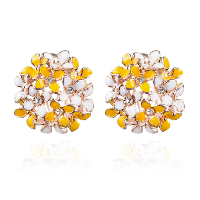Stud Earrings for Women Female 2017 Boucle d'oreille Crystal Flower Clover Earring Gold Bijoux Jewelry Brincos Mujer 5