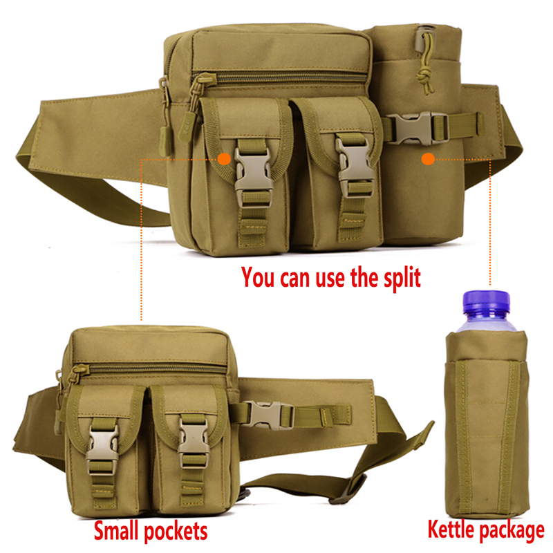 Protector Sport Military Waist Water Bottle Pocket Tactical Molle Leisure Camo Waist Belt Bag For Camping Hiking Outdoor