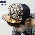 Hot sale!!! New arrival fashion Unisex baseball cap rhinestone skull spiked rivets hip hop style snapback caps A 34