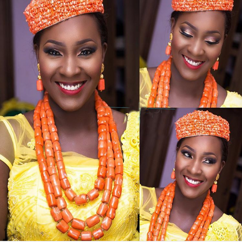 Orange Nature Coral Bead Jewelry Set For Women African Nigerian Weddings 3 Layers Necklace Earrings Set 3 Pics Jewellery Set NewOrange Nature Coral Bead Jewelry Set For Women African Nigerian Weddings 3 Layers Necklace Earrings Set 3 Pics Jewellery Set New