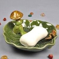 Ev ve Bahçe'ten Taşınabilir Sabun Yemekleri'de Seramik Mantar Kurbağa Minyatür Dekoratif Porselen Lotus Sabun Kutusu Tuvalet Essentials Yardımcı Zanaat Süsleme Aksesuarları