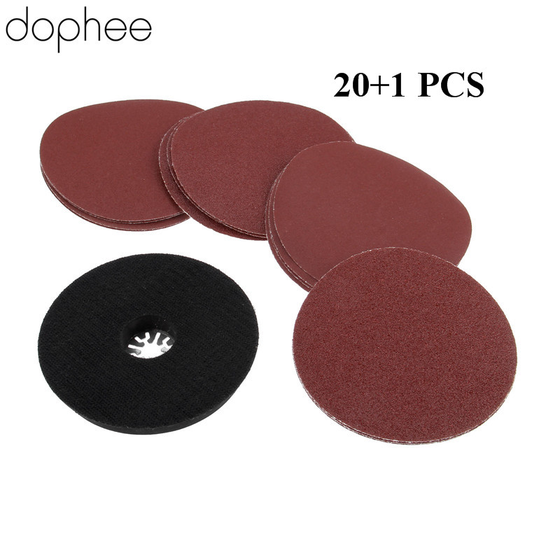 Dophee Round Sanding Pad + 20pcs 115mm Sanding Paper For Multimaster Oscillating Tools As Fein TCH Dremel Renovator Power Tools