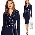 Осень Dress Элегантный Длинным Рукавом Женщины Dress Плюс Размер 4XL Костюм Воротник Контрастного Цвета Карандаш Работа Платья Vestidos Синий Dress