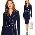 Autumn Dress Elegant Long Sleeve Women Dress Plus Size 4XL Suit Collar Contrast Color Pencil Work Dresses Vestidos Blue Dress