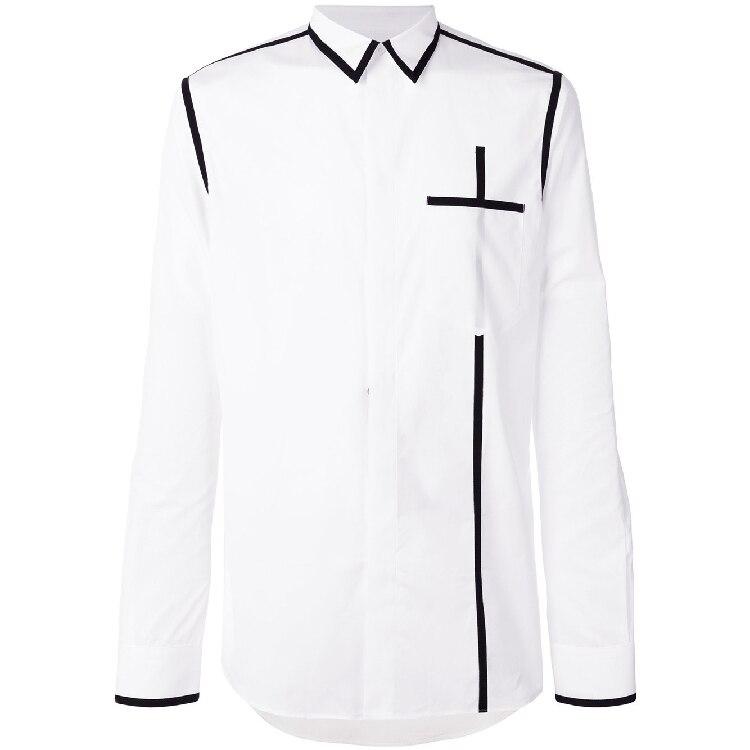 Printemps fait maison nouveau style hommes à manches longues épissure simple chemise ligne noire militaire uniforme coupe-vent chemise. S-6XL!!