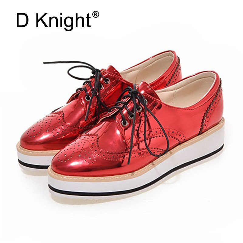 2018 Women Oxfords Lace Up Striped Platform Shoes Metallic Silver Black Gold Red Brogue Womens Causal Heels Wedges Female Shoes