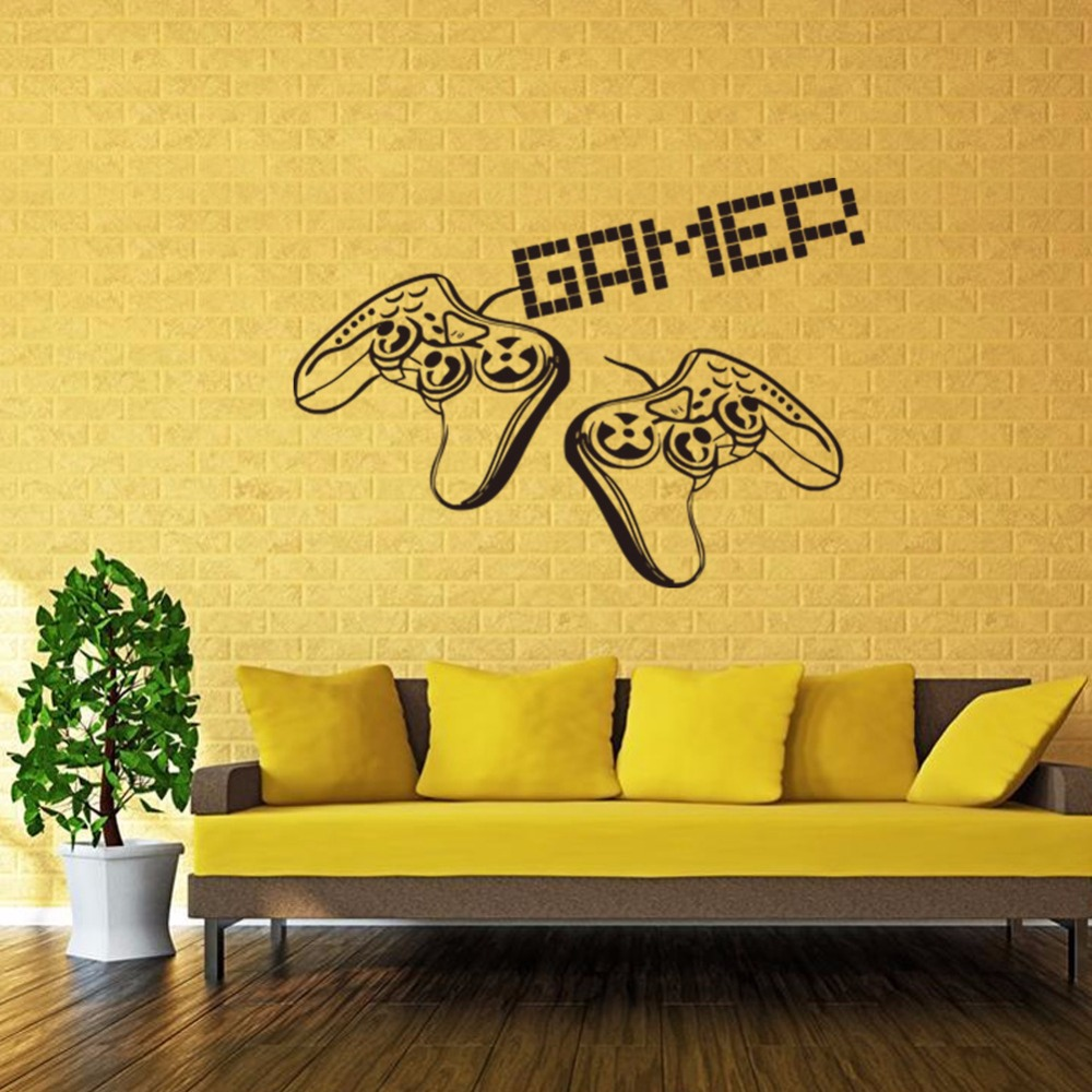 New game handle vinyl wall decal home decor living room diy ...