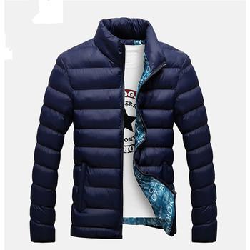 Kurtki zimowe Parka mężczyźni 2020 moda jesień ciepła odzież wierzchnia marka Slim męskie płaszcze Casual kurtki przeciwwiatrowe mężczyźni M-4XL tanie i dobre opinie HANQIU zipper jacket men REGULAR STANDARD NONE COTTON Szczupła Stałe Kieszenie Na co dzień Poliester MANDARIN COLLAR