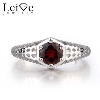 Leige Jewelry Natural Garnet Gemstone 925 Sterling Silver Engagement Rings Wedding Bands For Woman Jannuary Birthstone