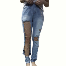 Fashion Women Ripped Jeans Pants Cool Denim Big Hole&Chains Vintage Pencil Pants Mid Waist Trousers  Exaggerated big hole