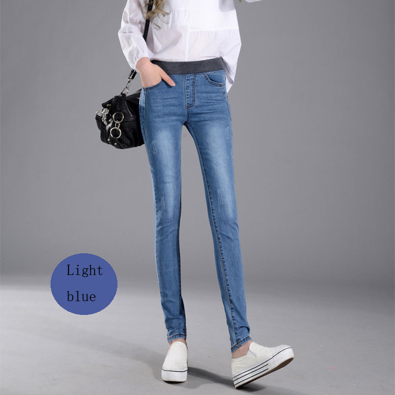 Women's Jeans New Female Casual Elastic Waist Stretch Jeans Plus Size 38 Slim Denim Long Pencil Pants Lady Trousers #3