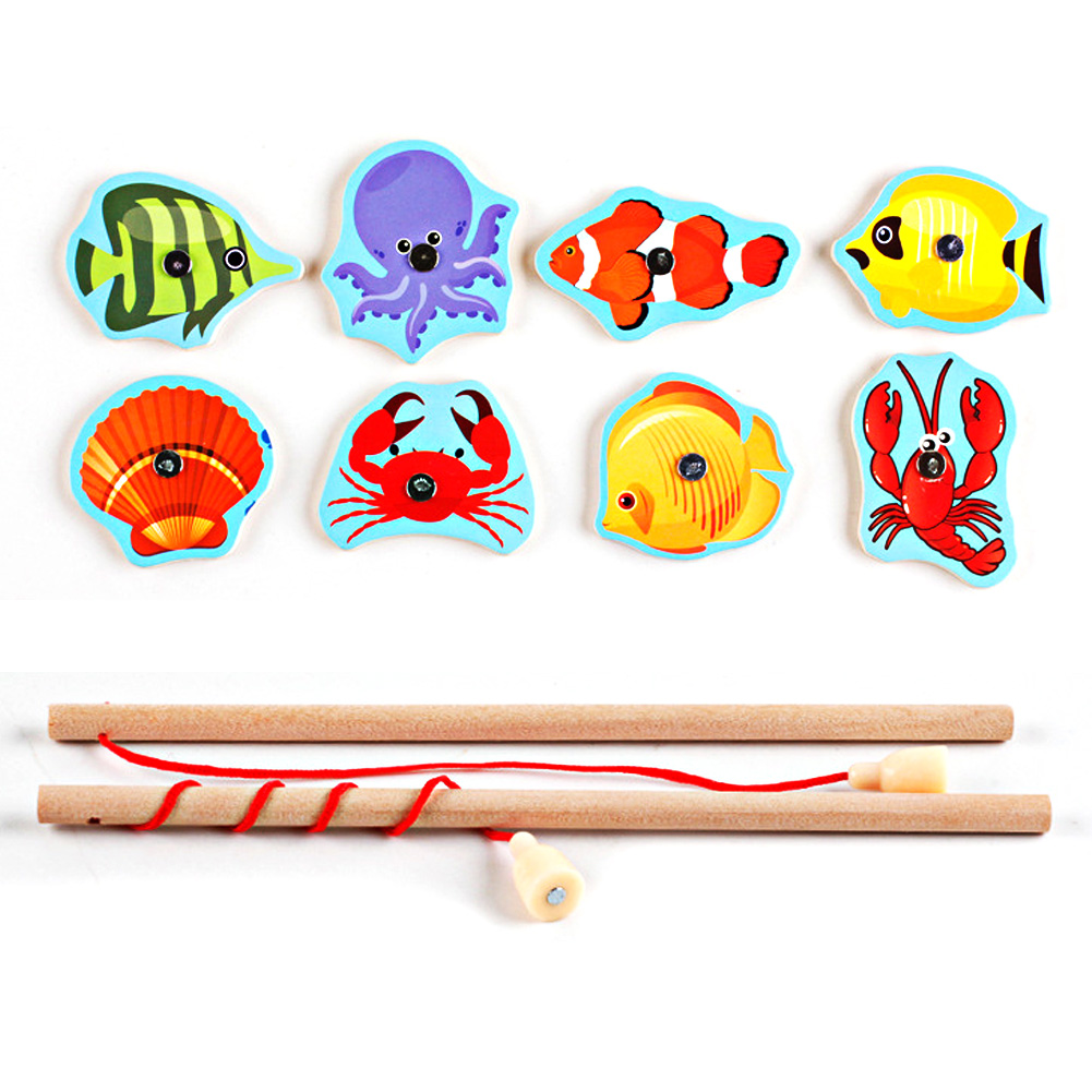 Baby-Kids-Magnetic-Fishing-Game-Board-Wooden-Animal-Frog-Cat-Fishing-Toy-with-2-Fishing-Rod-4