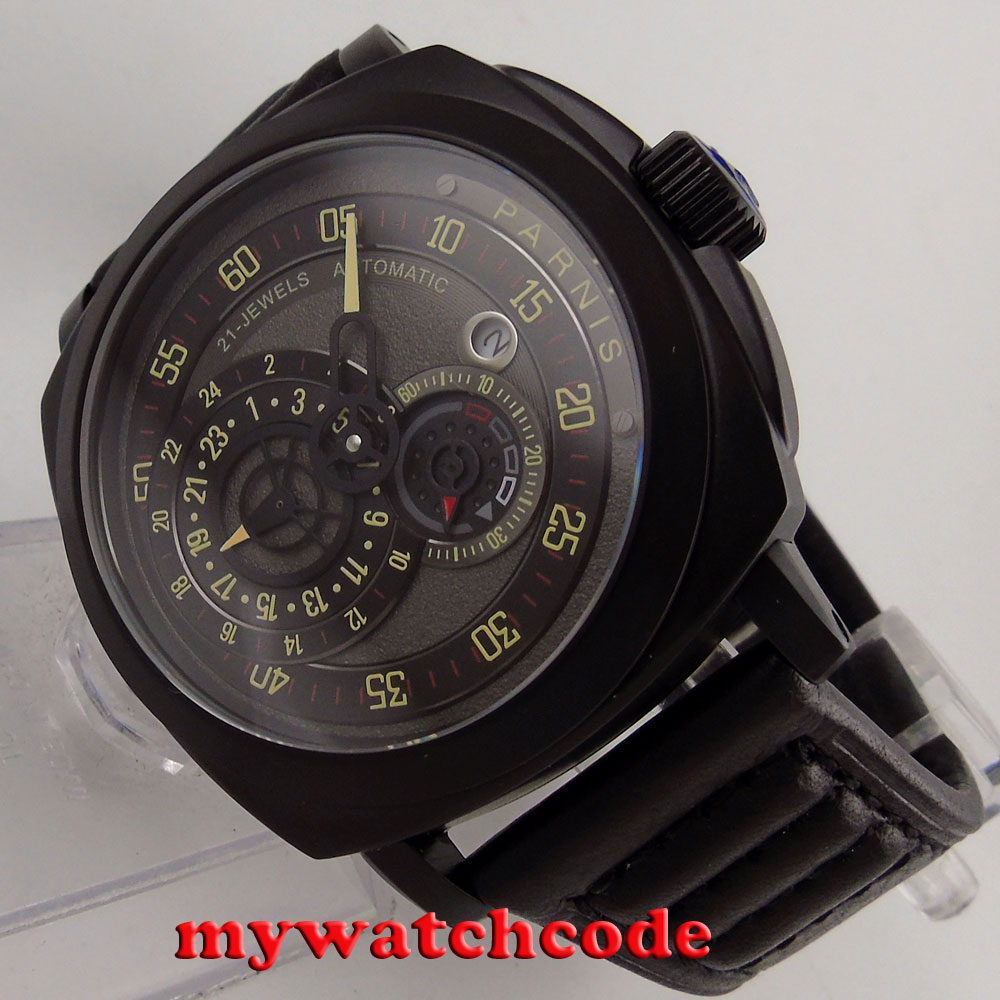 лучшая цена 44mm parnis black dial PVD case Sapphire Glass automatic military mens Watch790