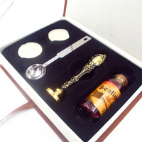 DIY Personalized Custom Sealing Wax Brass Stamp Bottle Spoon Gift Paper Box Set Wax Seal Retro