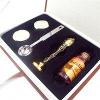 DIY Personalized Custom Sealing Wax Brass Stamp Bottle Spoon Gift Paper Box Set Wax Seal Retro