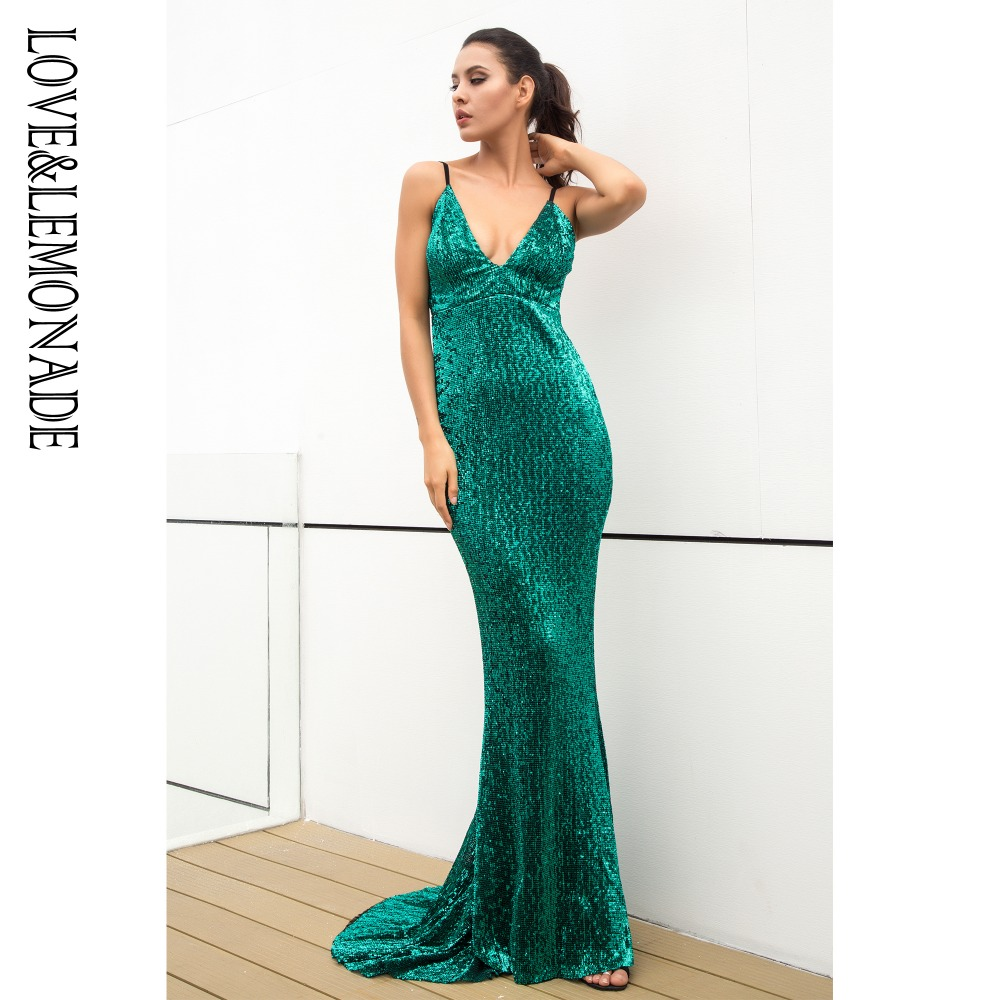 Love Lemonade Green Elastic Sequin V Collar Exposed Back Long Dress LM0828