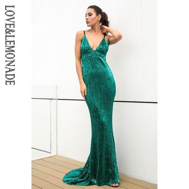 Love&Lemonade   Green Elastic Sequin V Collar Exposed Back Long Dress   LM0828