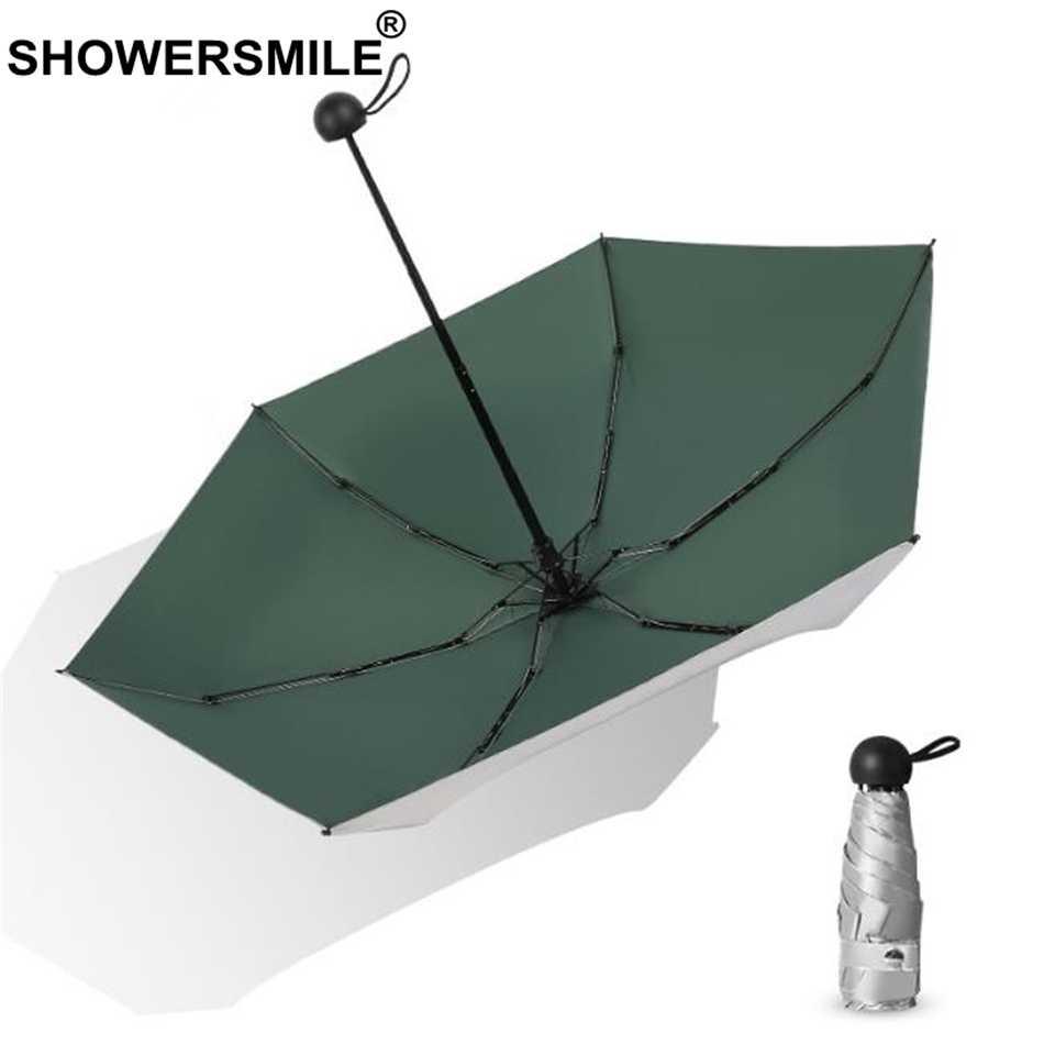 SHOWERSMILE Мини карманный Umbralla женское серебряное покрытие Женский Открытый Солнечный и Зонт от дождя маленький УФ защитный карман зонтик