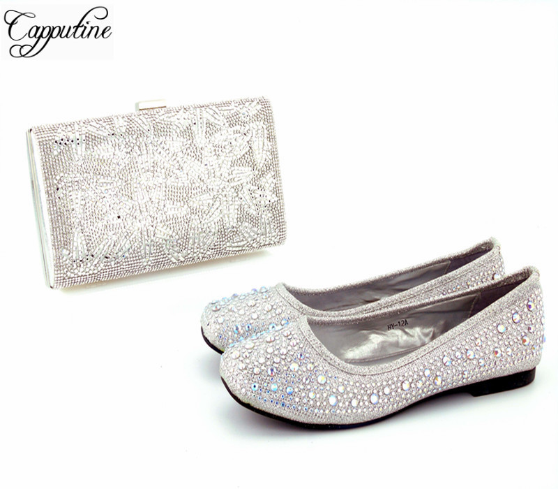 Capputine Africa Style Ladies Shoes And Bag Set New Italian Design Fashion Rhinestone Shoes And Matching Bag Set For Party