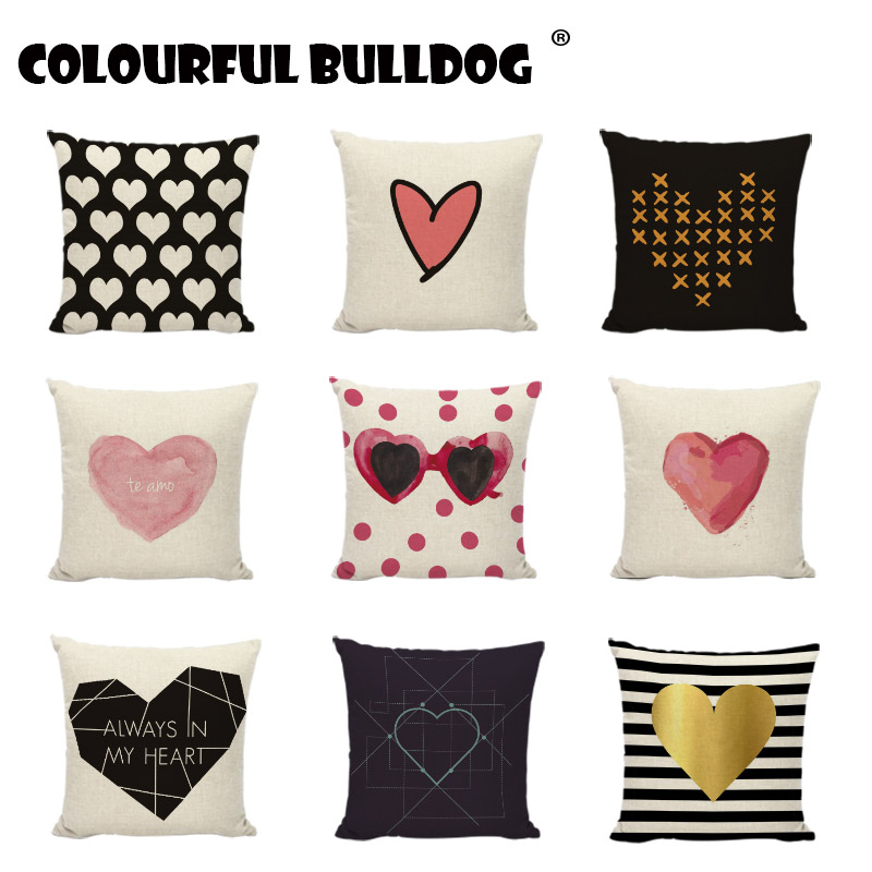Abstract Geometric Heart Cushion Cover Love Pillowcase Printed Home Decor Cotton Linen Black And White Stripes Throw Pillow Case
