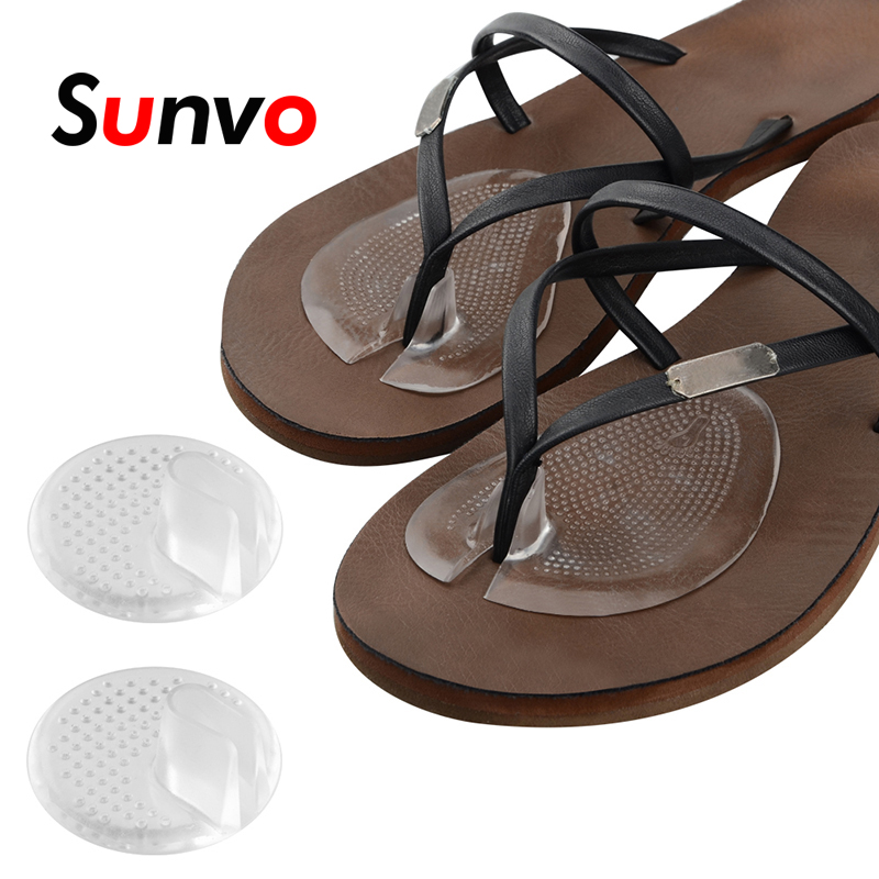 Sunvo 2Pairs Invisible Flip Flop Sandal Forefoot Pad Silicone Slip Resistant Half Yard Heel Pad Toe Separator Pad Massage Insert