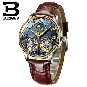 Image 4 - 2020 yeni mekanik erkek saatler Binger rol lüks marka İskelet bilek safir su geçirmez İzle erkekler saat erkek reloj hombre
